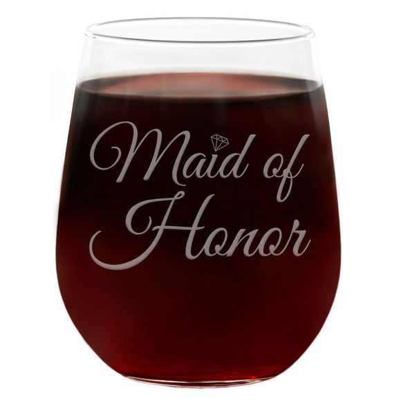 Maid of Honor | 21oz Engraved Stemless Wine Glass