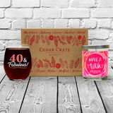 """40 & Fabulous"" Wine Glass and ""Make a Wish"" Spiced Tobacco Flower Candle Gift Set"