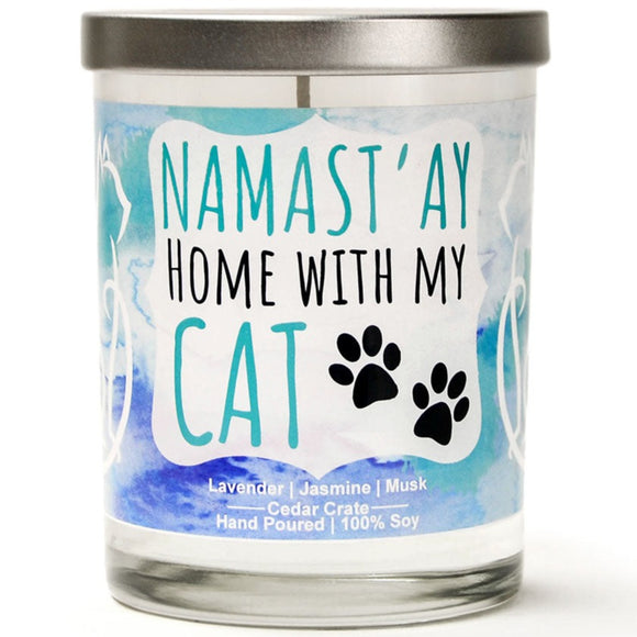 Namast'ay Home with my Cat | French Cade Lavender | 100% Soy Wax Candle