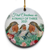 "Family of 3 Birds 2021 Christmas Tree Ornament | 2.875"" Round Ceramic Ornament 