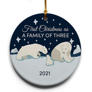 "Family of 3 Polar Bears 2021 Christmas Tree Ornament | 2.875"" Round Ceramic Ornament 