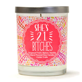 """21 Finally Legal"" Wine Glass and "" She's 21 Bitches"" Tropical Fruit Temptations Candle Gift Set"