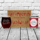 """Sip Sip Hooray!"" Wine Glass and ""Today is a Good Day"" Orange Zest Candle Gift Set"