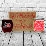 """Cheers to 50 Years!"" Wine Glass and ""50 Too Glam To Give A Damn"" Citrus Peach Candle Gift Set"