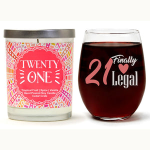 """21 Finally Legal"" Wine Glass and ""Twenty One"" Tropical Fruit Temptations Candle Gift Set"