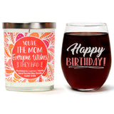 """Happy Birthday!"" Wine Glass and ""You're The Mom Everyone Wishes They Had"" Wild Huckleberry Candle Gift Set"