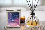 Aries Astrology Candle, Scented 100% Soy Candle, Huckleberry, Lemon, Vanilla
