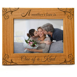 A Mother's Love Is One Of A Kind | Engraved Natural Wood Photo Frame | Fits 5x7 Horizontal Portrait