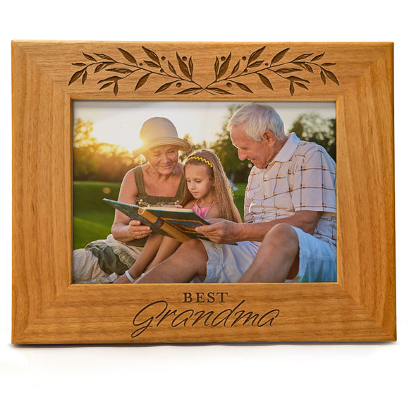 Best Grandma | Engraved Natural Wood Photo Frame | Fits 5x7 Horizontal Portrait