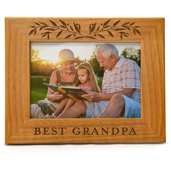 Best Grandpa | Engraved Natural Wood Photo Frame | Fits 5x7 Horizontal Portrait