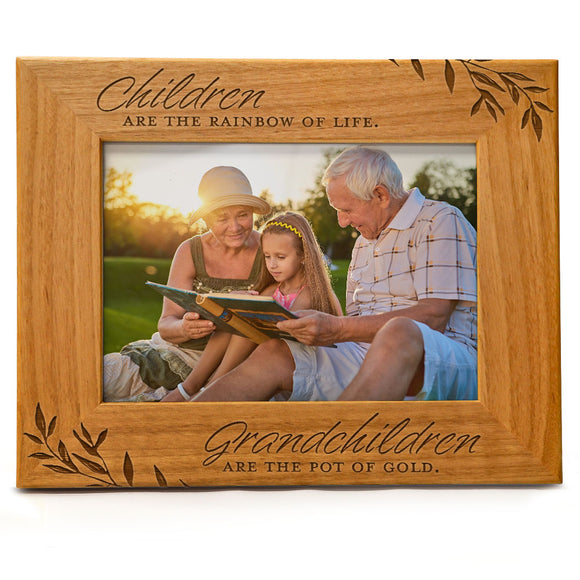 Children are the rainbow of life. Grandchildren are the pot of gold | Engraved Natural Wood Photo Frame | Fits 5x7 Horizontal Portrait