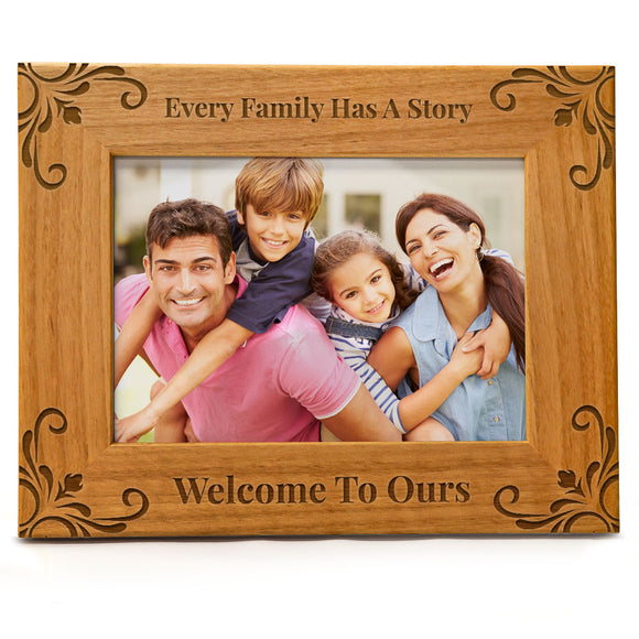 Every Family Has a Story Welcome to Ours | Engraved Natural Wood Photo Frame | Fits 5x7 Horizontal Portrait