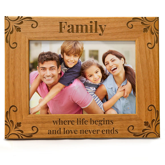 Family Where Life Begins And Love Never Ends | Engraved Natural Wood Photo Frame | Fits 5x7 Horizontal Portrait