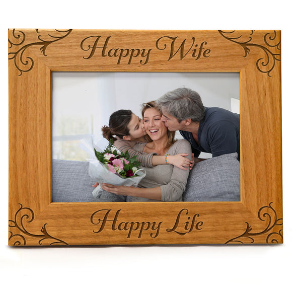 Happy Wife - Happy Life | Engraved Natural Wood Photo Frame | Fits 5x7 Horizontal Portrait