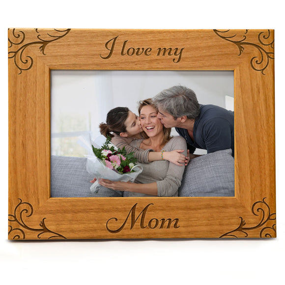 I Love My Mom | Engraved Natural Wood Photo Frame | Fits 5x7 Horizontal Portrait