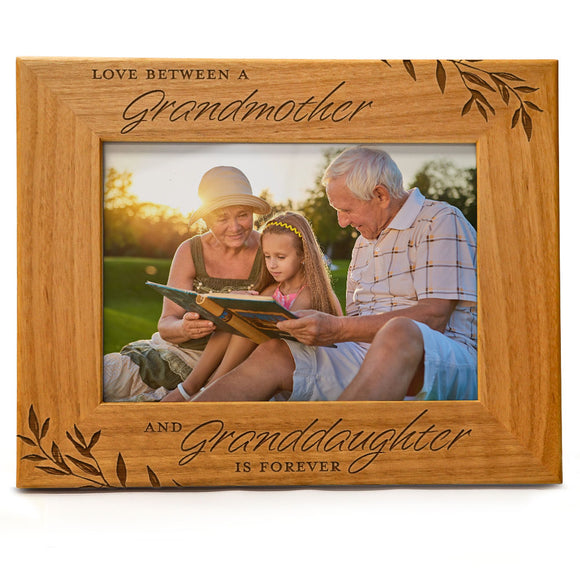 Love between a Grandmother & Granddaughter is forever | Engraved Natural Wood Photo Frame | Fits 5x7 Horizontal Portrait
