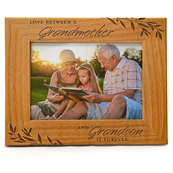 Love between a Grandmother & Grandson is forever | Engraved Natural Wood Photo Frame | Fits 5x7 Horizontal Portrait