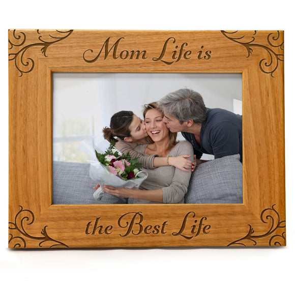 Mom Life Is The Best Life | Engraved Natural Wood Photo Frame | Fits 5x7 Horizontal Portrait
