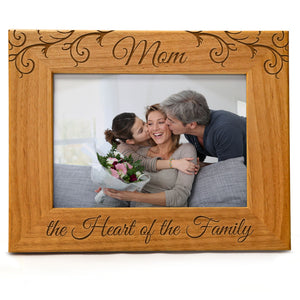 Mom The Heart Of The Family | Engraved Natural Wood Photo Frame | Fits 5x7 Horizontal Portrait