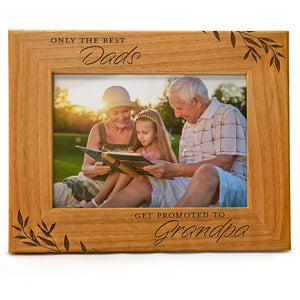 Only The Best Dads get Promoted to Grandpa | Engraved Natural Wood Photo Frame | Fits 5x7 Horizontal Portrait