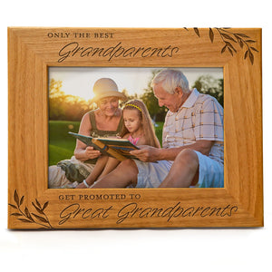 Only the Best Grandparents get Promoted to Great Grandparents | Engraved Natural Wood Photo Frame | Fits 5x7 Horizontal Portrait