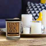 Love You Most, Kraft Label Scented 100% Soy Candle, Lemon, Peach, Orange