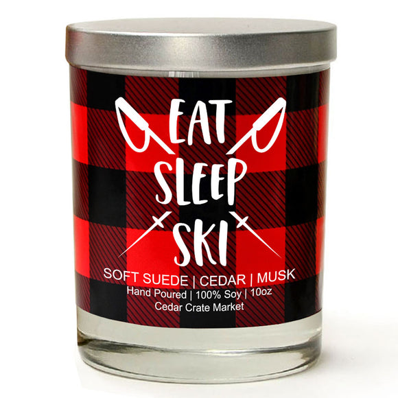 Eat Sleep Ski | Vintage Leather | 100% Soy Wax Candle