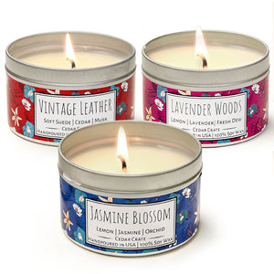 Wild Escapes | Jasmine Blossom | Lavender Woods | Vintage Leather | 100% Soy Wax Candle