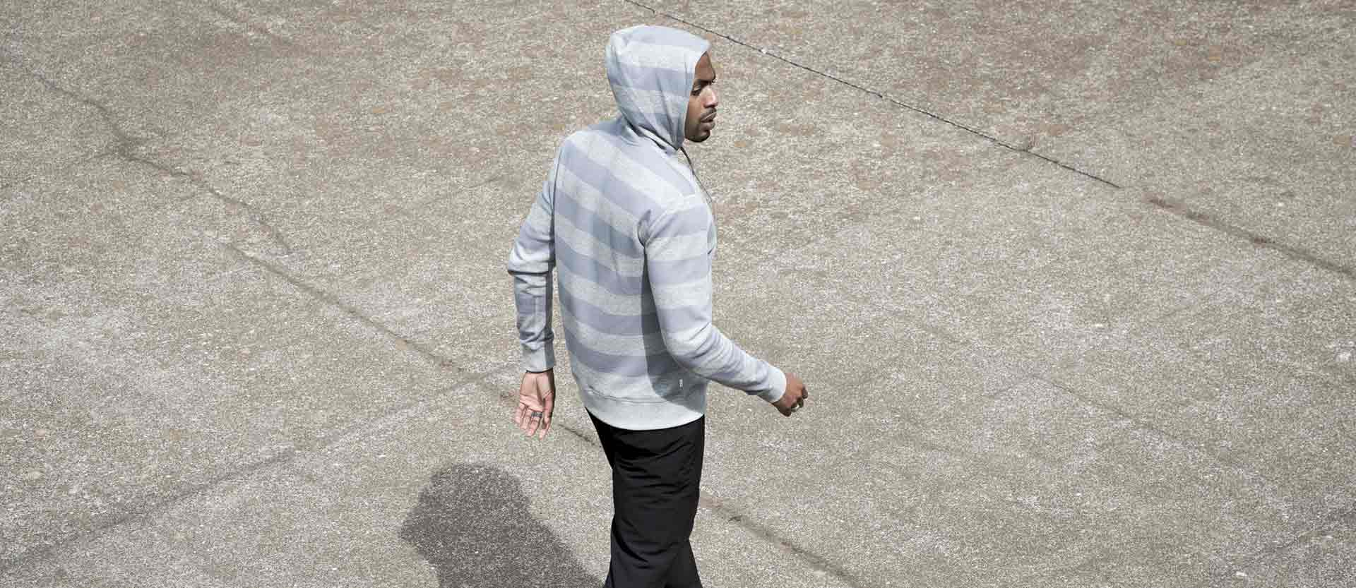 Clark Hoodie | Heather Grey Stripe Image