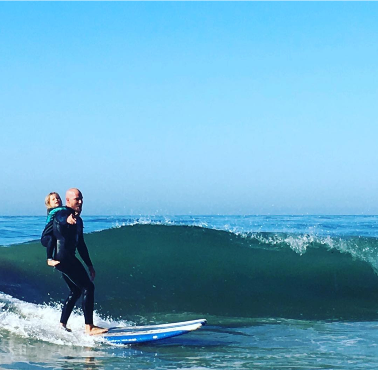 Father daughter surfing