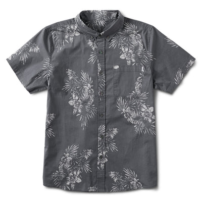 Crest Short Sleeve Button-Down | Grey Vintage Floral