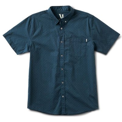 Crest Short-Sleeve Button-Down | Indigo Micro Dot