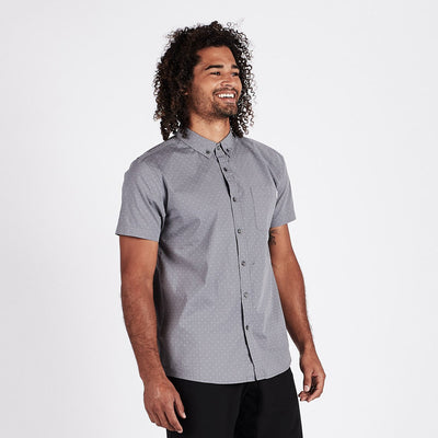 Crest Short Sleeve Button-Down | Grey Micro Dot