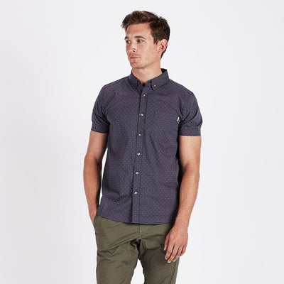 Crest Short Sleeve Button-Down | Navy Micro Dot
