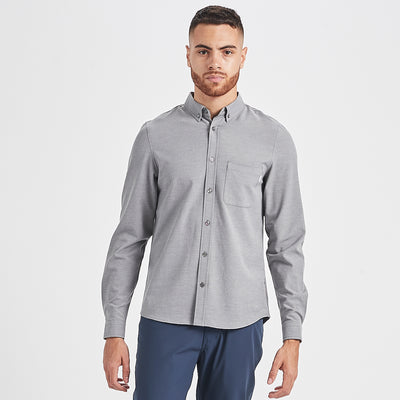 Bishop Long-Sleeve Button-Down | Light Grey