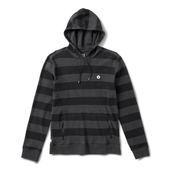 Clark Hoodie | Black Heather Stripe