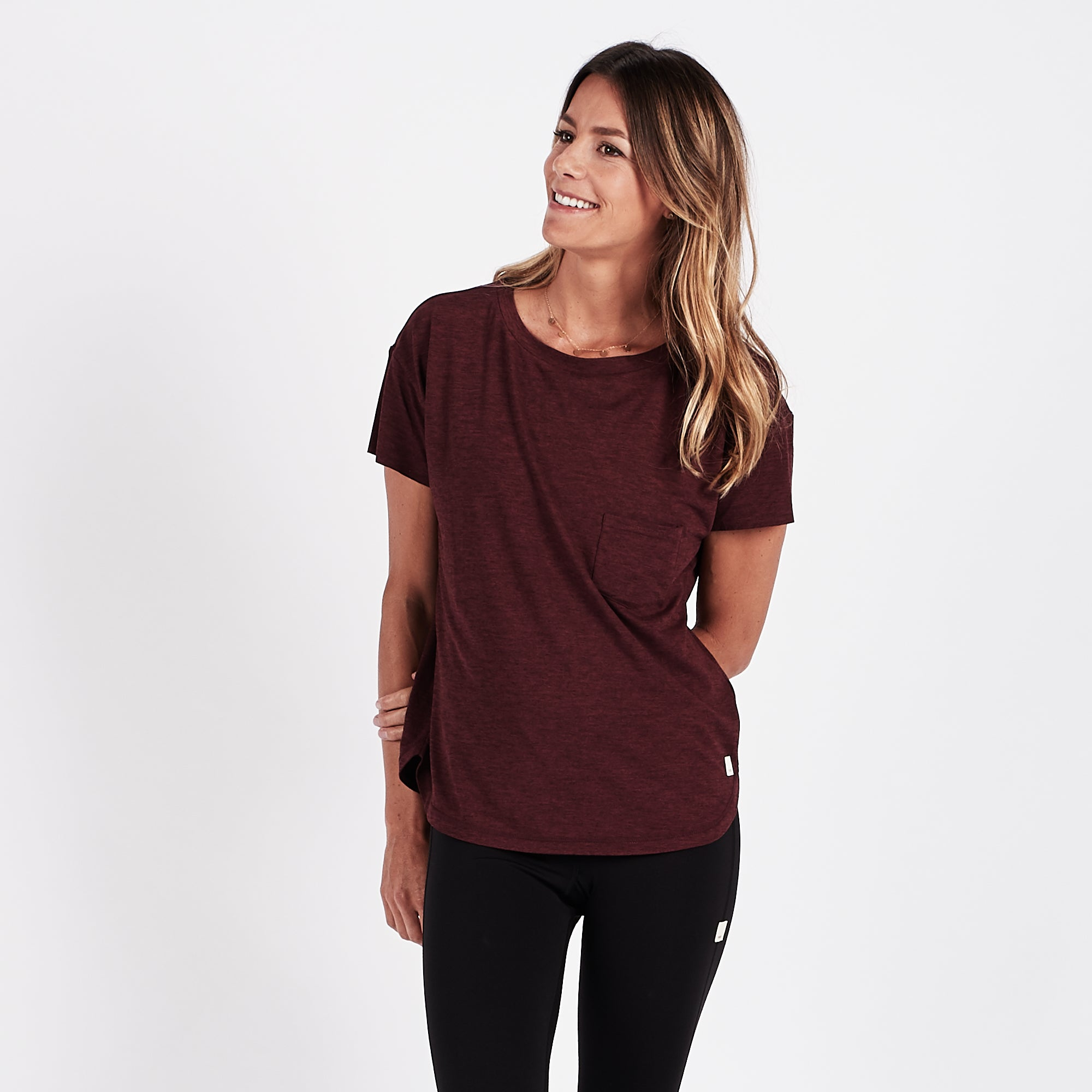 Lux Performance Tee | Bordeaux Heather