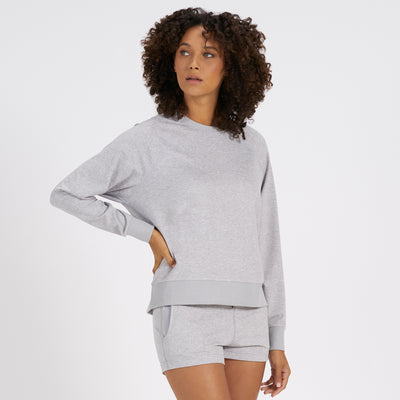 Long-Sleeve Halo Crew | Pale Grey Heather