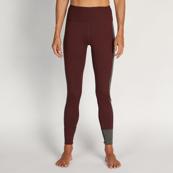 Asymmetric Block Legging | Bordeaux