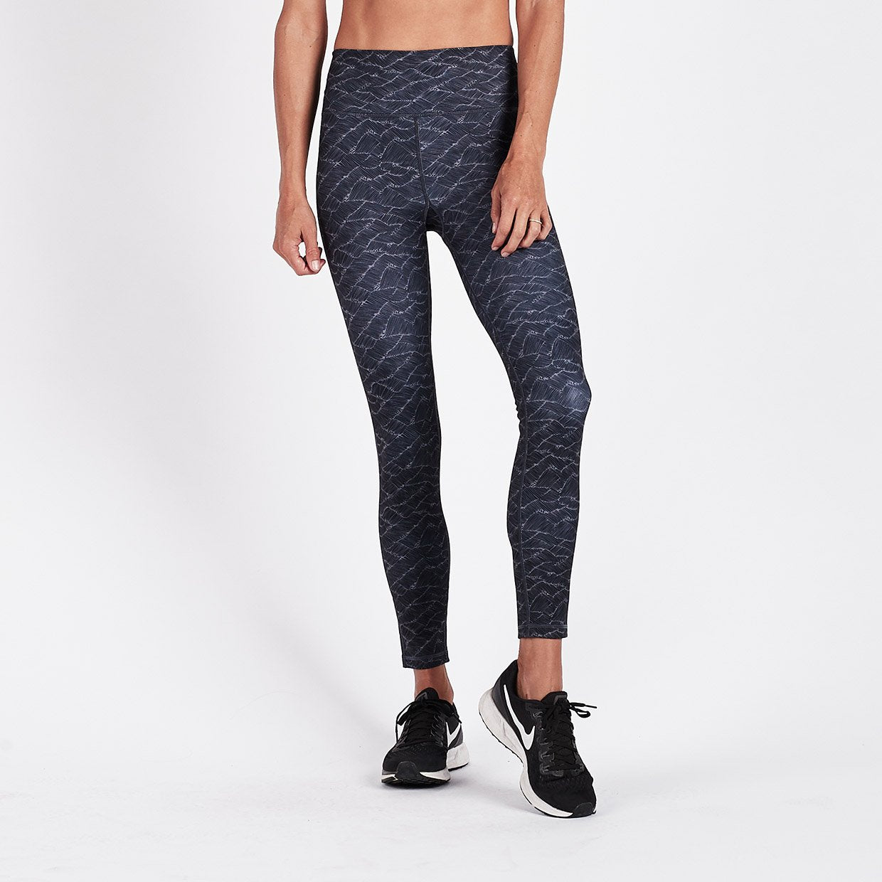 Vibes Mid Rise Legging - Charcoal Wave - Charcoal Wave 1