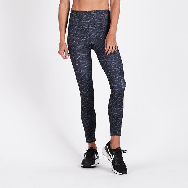 Vibes Mid Rise Legging | Charcoal Wave