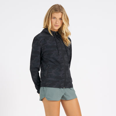 Womens Outdoor Trainer Shell | Black Camo