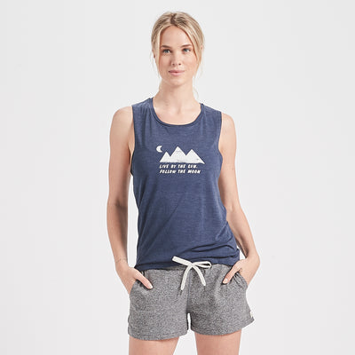 Live By The Sun Tank | Navy Heather