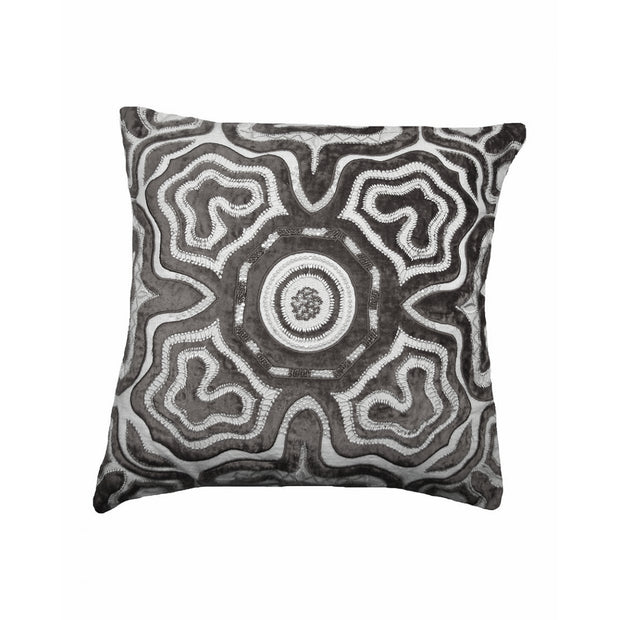 Gray Beaded Pillow