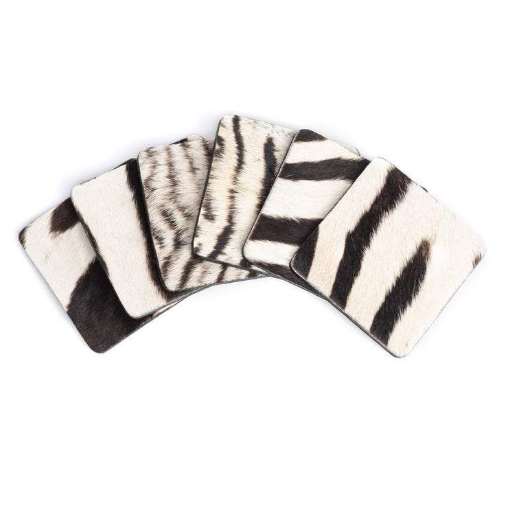 Zebra Hide Coaster Set