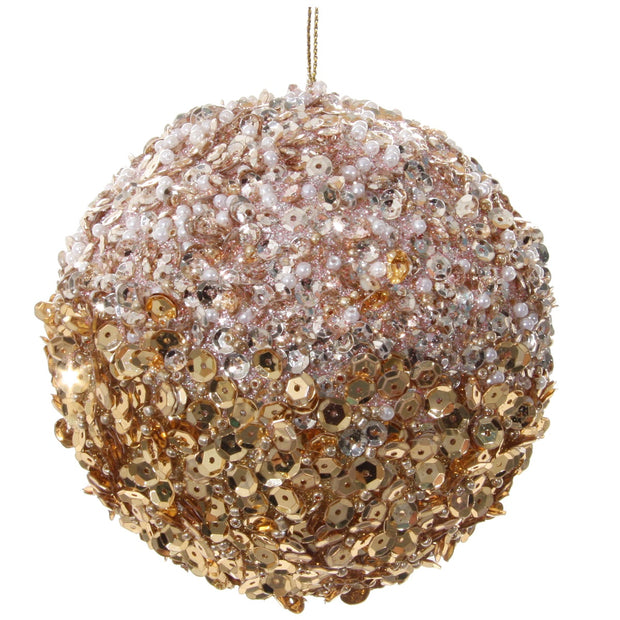 Pink + Gold Sequin Ball Ornament