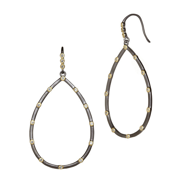 Bezel Teardrop Earrings