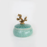 Gold Coral and Seafoam Trinket Box