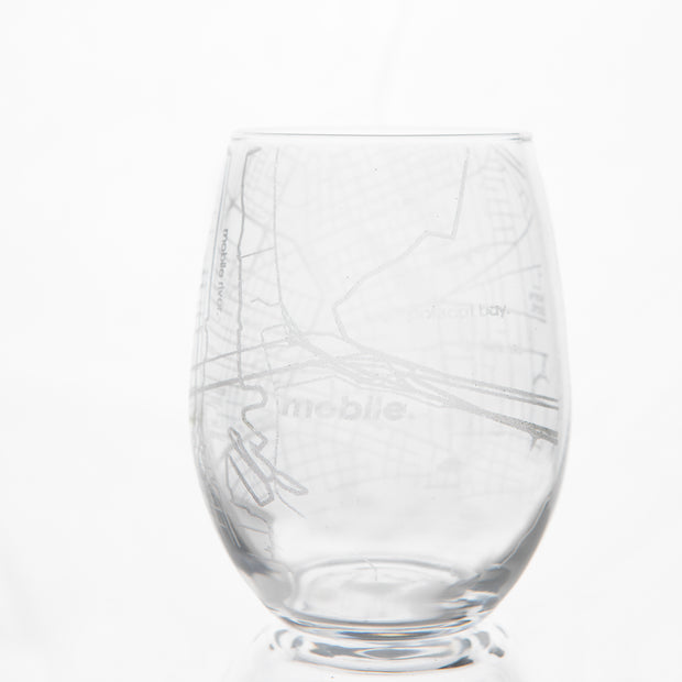 City Map Stemless Wine Glass