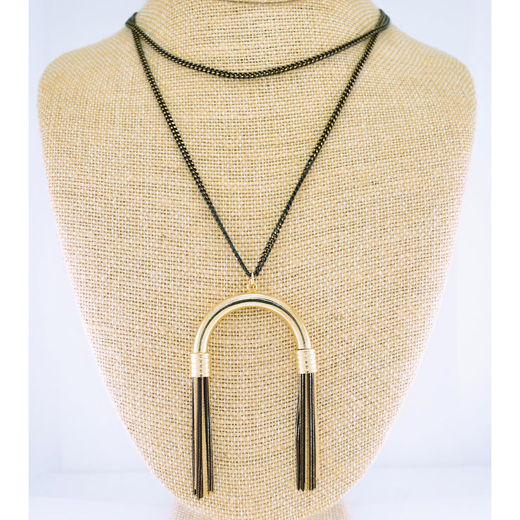 Gold + Black Tassel Necklace